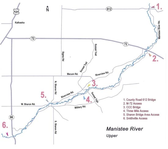 Map of the Upper Manistee River (above Tippy Dam)