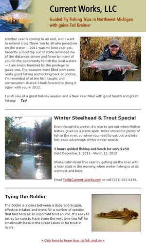 Northern Michigan Fly Fishing Newsletter Example